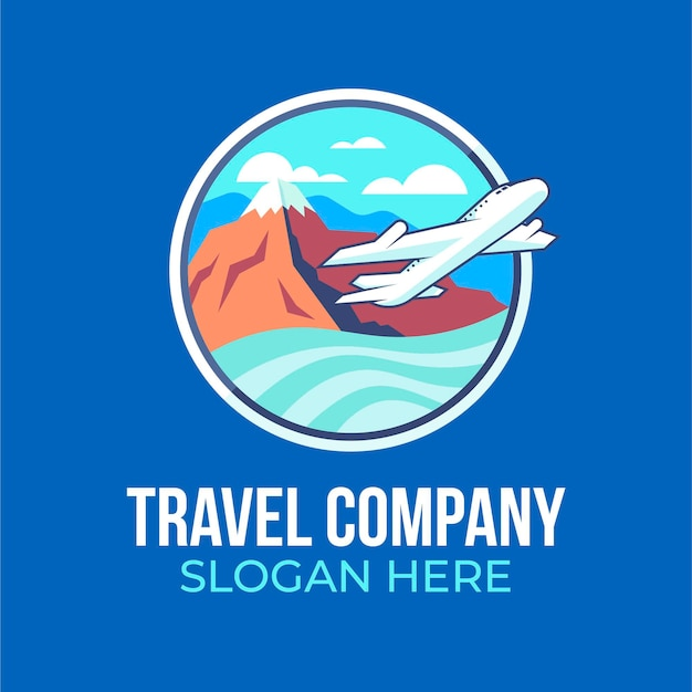 Travel company with airplane logo