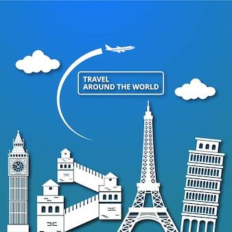 Туристическая композиция с известными мировыми достопримечательностями путешествие по миру