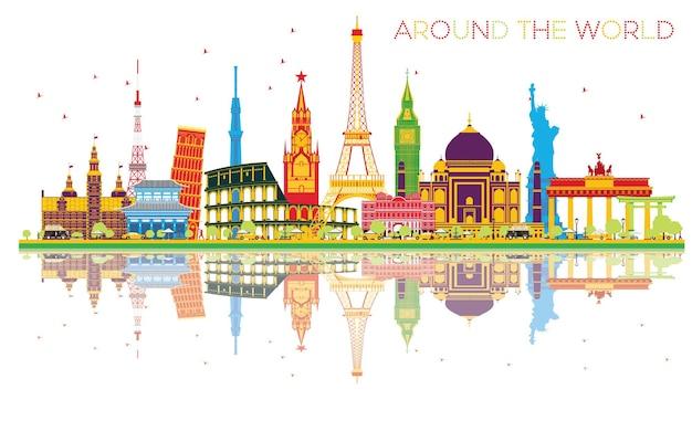 有名な国際的なランドマークと反射で世界中を旅するコンセプト。ベクトルイラスト。ビジネスと観光の概念。プレゼンテーション、プラカード、バナー、またはwebサイトの画像。