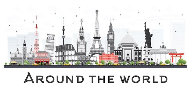Концепция путешествий по всему миру с известными международными достопримечательностями.