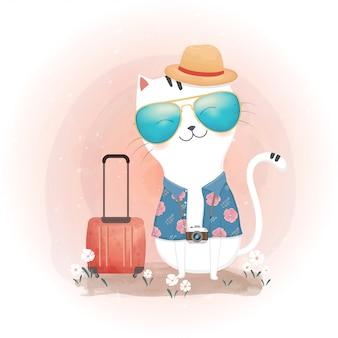 旅行のコンセプト。かわいい猫とスーツケース。水彩風