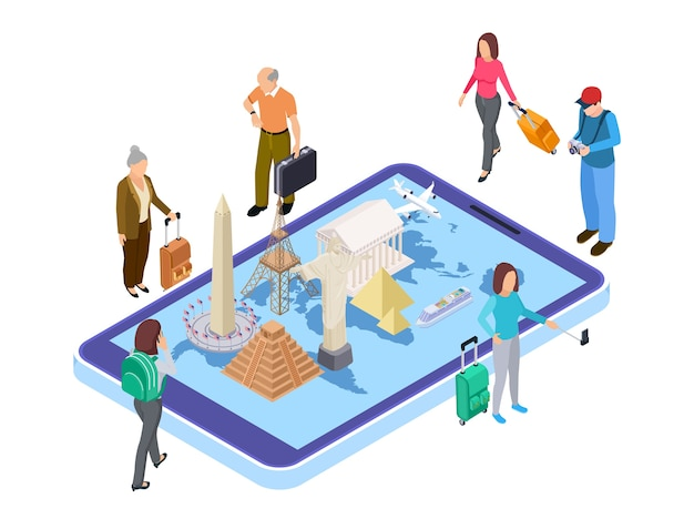 Travel concept. different landmarks on world map. isometric travellers, online booking tickets, vouchers