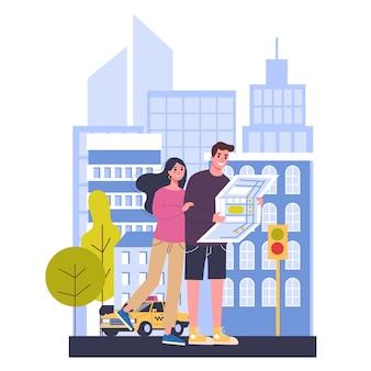 旅行の概念。世界中の観光のアイデア。海外での休暇や休日を持っている幸せなカップル。大都市での冒険。地図を読んでいる人。