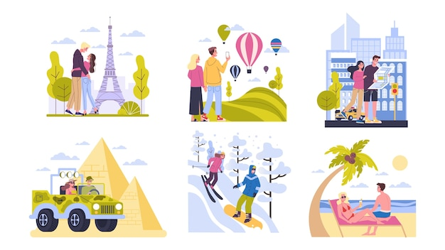 Travel concept. idea of tourism around the world. happy couple having vacation and holiday abroad. adventure in europe, america, egypt. weekend journey.  illustration