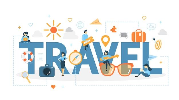 旅行の概念図。新しい冒険のアイデア。