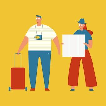 Иллюстрация концепции путешествия с персонажами пары туристов, изолированных на белом фоне.