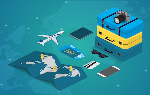 아이소 메트릭 스타일에서 여행 개념. 여권, 티켓, 가방 및 비행기. 여행 장비.