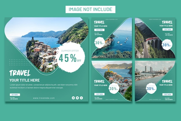 Travel concept instragram social media post template collection