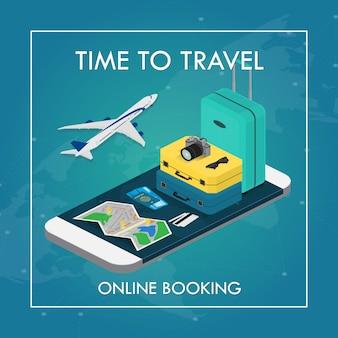 Travel concept in isometric illustration