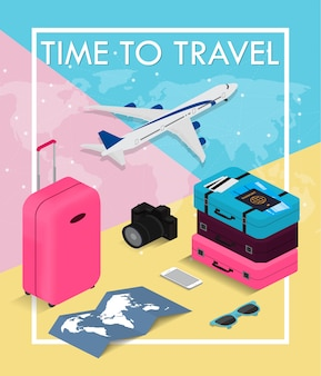 Travel concept in isometric style time to travel. passport, tickets, bags and airplane. travel equipment.