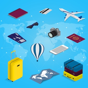 Travel concept in isometric style time to travel. passport, tickets, bags and airplane. travel equipment