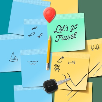 Travel concept lets go travel text on the post it notes vector image