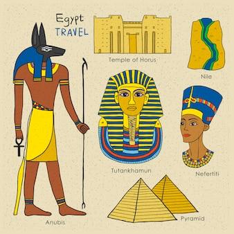 スタイリッシュな手描きスタイルでエジプトの旅行の概念