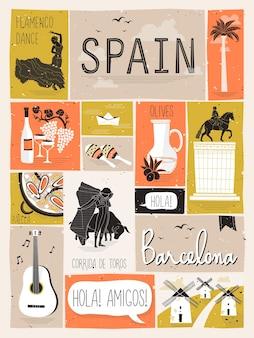 Концепция путешествия испании в стиле