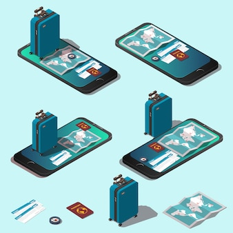 Travel concept or online booking set.