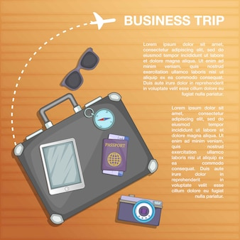 Travel concept plan, cartoon style