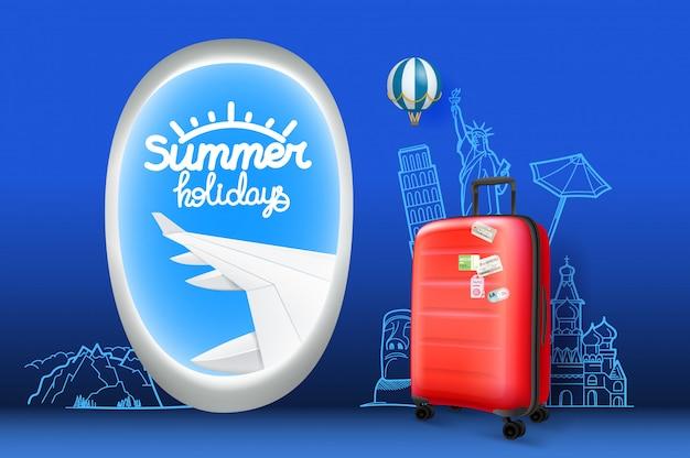 Концепция путешествия с каллиграфическим логотипом и красной сумкой