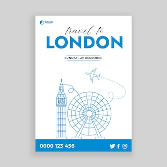 Travel concept with london top monument for flyer poster and prints