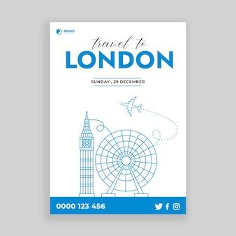 Концепция путешествия с лондонским памятником для флаеров и плакатов