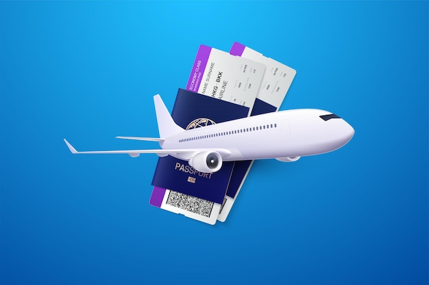 Travel concept with passports boarding passes and airplane