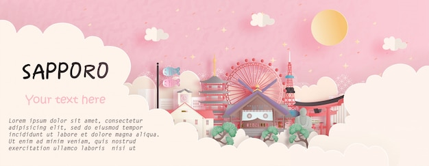 Travel concept with sapporo, japan famous landmark in pink background. paper cut  illustration