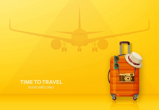 Travel concept with suitcase, sunglasses, hat and camera on blue background. flying plane at the back.