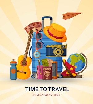 Travel concept with suitcase, sunglasses, hat, camera and globe on yellow sunray background. flying paper plane at the back.  illustration.