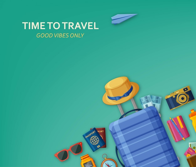 Travel concept with suitcase, sunglasses, hat, camera and tickets on turquoise background. flying paper plane at the back. good vibes only.  illustration.