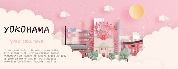 Travel concept with yokohama, japan famous landmark in pink background. paper cut  illustration