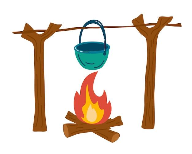 모닥불에서 여행 요리. 가마솥에서 하이킹 음식. 나무 통나무에 수프가 달린 캠핑 냄비. 야외 음식. 불에 냄비입니다. 디자인, 웹, 그래픽, 인쇄. 숲 lifestyle.vector 그림입니다.