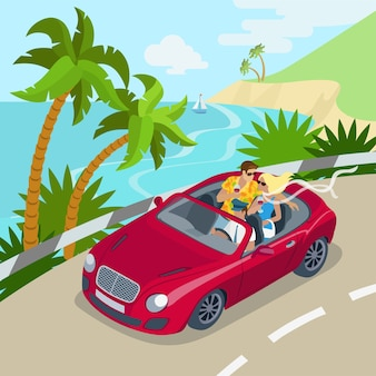 Travel couple cabrio car flat 3d web