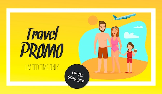 Travel coupon vector banner template with text.