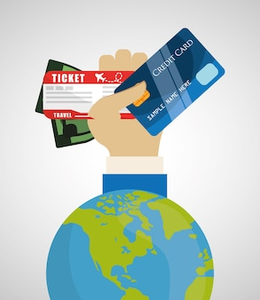 Travel credit card world tourism money ticket