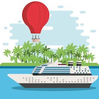 Travel cruise ship in island
