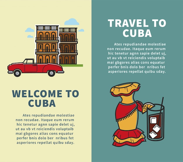 Travel to cuba vertical design with sample text template