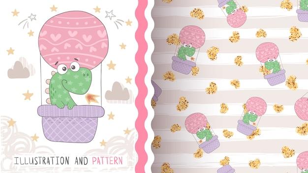 Travel cute dino seamless pattern