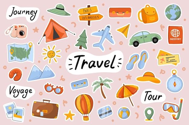 여행 귀여운 스티커 템플릿 스크랩북 요소 세트