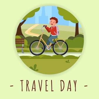 Travel day social media banner template. summer outdoor activity flat color illustration