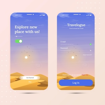 Travel desert onboarding mobile app with login screen and homescreen