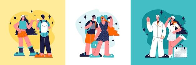 Concetto di design di viaggio con composizioni di illustrazione umana in stile doodle