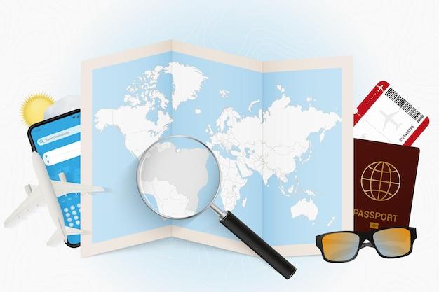 여행 장비와 여행 목적지 브라질 관광 모형