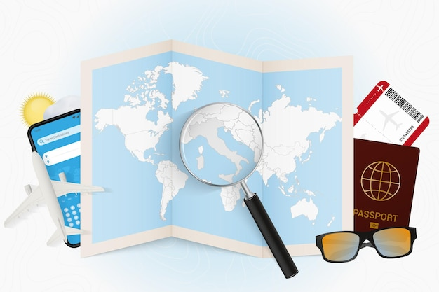 Travel destination italy, tourism mockup with travel equipment and world map with magnifying glass on a italy.
