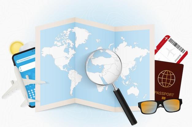 Travel destination lebanon tourism mockup with travel equipment and world map