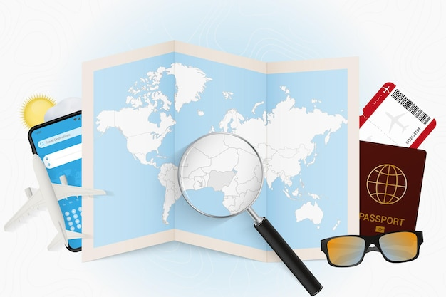 Travel destination nigeria, tourism mockup with travel equipment and world map with magnifying glass on a nigeria.