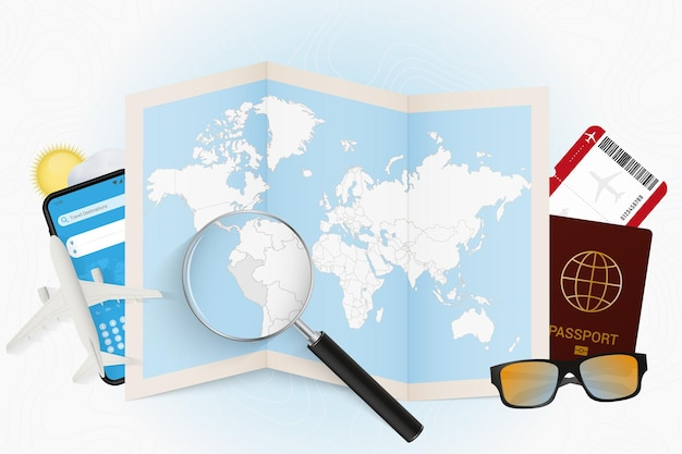 Travel destination peru and world map with a magnifying glass.