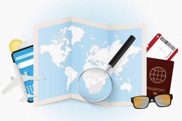 Travel destination south africa, tourism mockup with travel equipment and world map