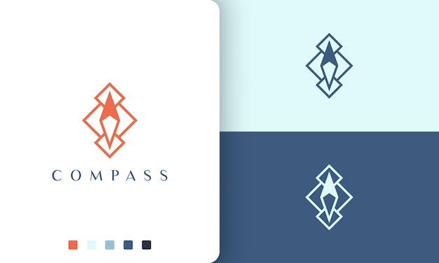 Travel or direction logo vector design with simple and modern compass shape