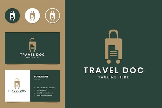 여행 문서 부정적인 공간 로고 디자인