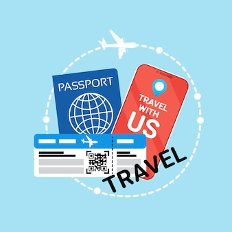 Travel documents id passport and ticket on plane