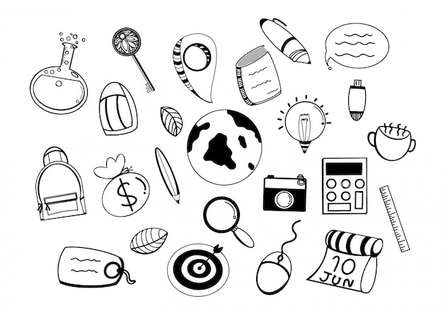 Travel doodle icons. hand made illustration. sketch line art. tourist objects vacation. summer adventure.